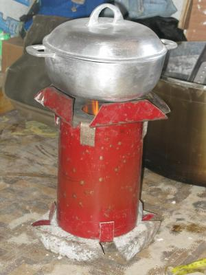 Haitian Lucia Stove in Use, note no smoke.