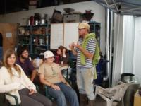 Miguel lecturing students